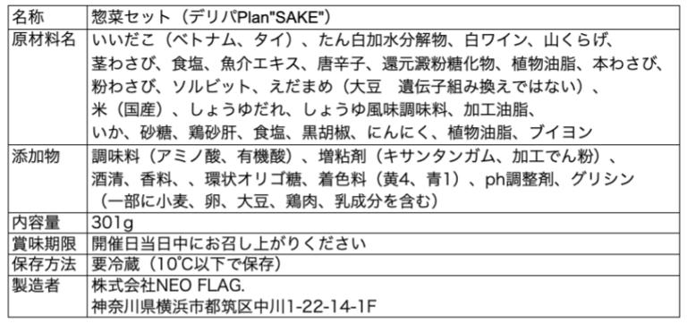 SAKE成分表